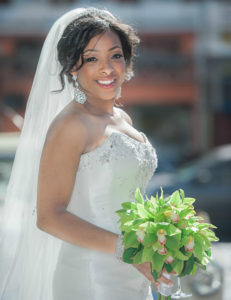 Bridal bouquet with green Cymbidium Chrysants